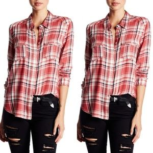Paige Red Mya Plaid Buutton Up Shirt